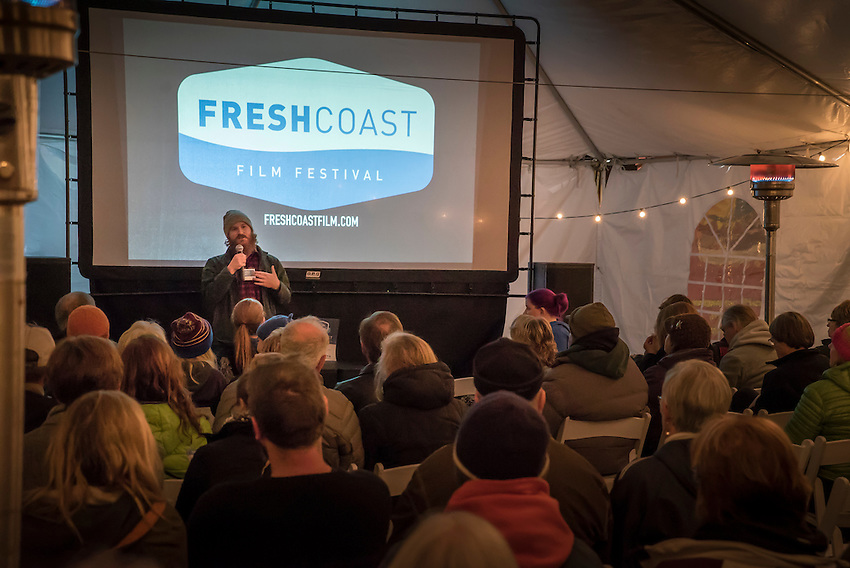 Fresh Coast Film Festival cofounder Bugsy Sailor warms up the crowd during Thursday nights free kickoff event Fresh Coast Free. The festival, held annually in October, celebrates the outdoor lifestyle and environment of the Great Lakes region.
