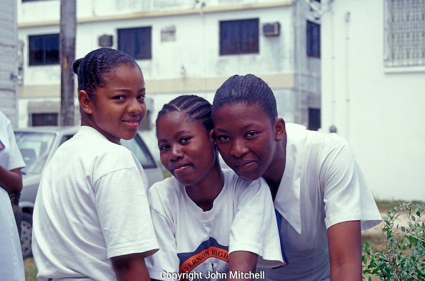High school girls in Belize City, Belize