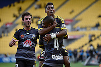 Rolieny Bonevacia and Roy Krishna in action during the A League - Wellington Phoenix v Melbourne City at Westpac Stadium, Wellington, New Zealand on Sunday 30 November 2014.