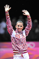 August 11, 2012; London, Great Britain;  DARIA DMITRIEVA of Russia celebrates winning silver in rhythmic gymnastics individual All-Around final at London 2012 Olympics.