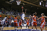 21 December 2007: Duke's Jasmine Thomas (5) makes a lay-up surrounded by Bucknell's Amanda Brown (12), Kesha Champion (25), Andrea Wright (15), Lauren Schober (32), and Joyce Novacek (35). The Duke University Blue Devils defeated the Bucknell University Bisons 92-49 at Cameron Indoor Stadium in Durham, North Carolina in an NCAA Division I Women's College Basketball game.