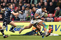 Robbie Fruean of Bath Rugby goes on the attack. Aviva Premiership match, between Sale Sharks and Bath Rugby on May 6, 2017 at the AJ Bell Stadium in Manchester, England. Photo by: Patrick Khachfe / Onside Images