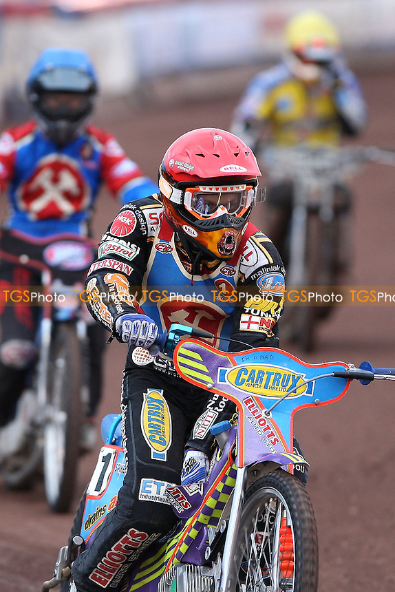 Rory Schlein (red) after winning Heat 1 - Lakeside Hammers vs Eastbourne Eagles KOC Semi Final 1st Leg at The Arena Essex Raceway, Lakeside - 13/08/08 - MANDATORY CREDIT: Rob Newell/TGSPHOTO