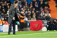 Trainer of Real Madrid, Jose Mourinho gives orders to the team