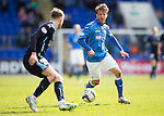 St Johnstone v Dundee....11.04.15   SPFL<br /> Chris Millar is closed down by Willie Dyer<br /> Picture by Graeme Hart.<br /> Copyright Perthshire Picture Agency<br /> Tel: 01738 623350  Mobile: 07990 594431
