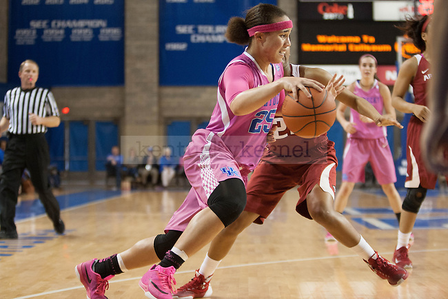 Junior guard Makayla Epps (25) drives the baseline during the game against the Arkansas Razorbacks on Sunday, February 21, 2016 in Lexington, Ky. Kentucky won the game 77-63. Photo by Hunter Mitchell | Staff