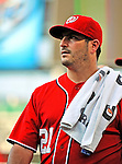 9 July 2011: Washington Nationals pitcher Jason Marquis walks to the dugout prior to starting against the Colorado Rockies at Nationals Park in Washington, District of Columbia. The Nationals were edged out by the Rockies 2-1, dropping the second game of their 3-game series. Mandatory Credit: Ed Wolfstein Photo