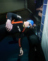The first Norwegian freediving championship, held in Askinm, Norway..Steinar Schjager  doing static apnea 5 min 14 seconds. © Fredrik Naumann/Felix Features