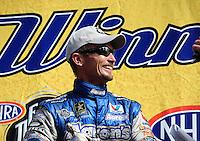 May 15, 2011; Commerce, GA, USA: NHRA funny car driver Jack Beckman celebrates after winning the Southern Nationals at Atlanta Dragway. Mandatory Credit: Mark J. Rebilas-