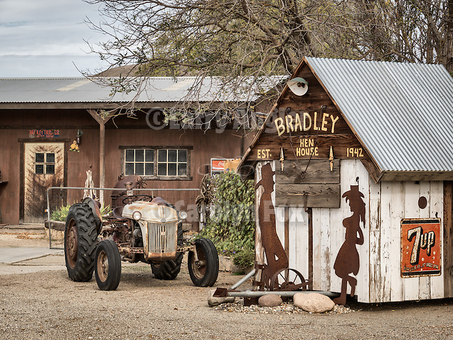 Hen house and late 1930s Ford tractor, Ghost town of Bradley, Calfiornia, along US 101