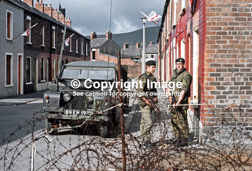 British soldiers on duty in a loyalist area on the Crumlin Road, Belfast, N Ireland, September, 1971, 197109000431g.<br />