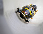 5 January 2008: NASCAR Whelen Modified Tour Champion Donny Lia banks a turn at the 3rd Annual Chevy Geoff Bodine Bobsled Challenge at the Olympic Sports Complex on Mount Van Hoevenberg, in Lake Placid, New York. Lia ended up fifth in the morning competition...Mandatory Photo Credit: Ed Wolfstein Photo