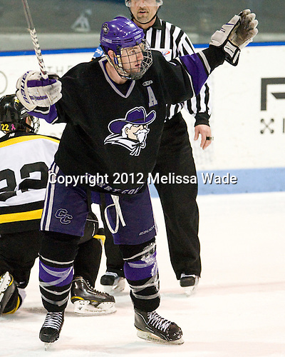 Mike Kavanagh (Curry - 4) - The Wentworth Institute of Technology Leopards defeated the Curry College Colonels 1-0 (OT) to win the ECAC Northeast championship on Saturday, March 3, 2012, at Matthews Arena in Boston, Massachusetts.
