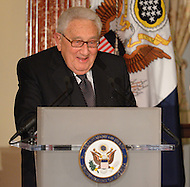 October 27, 2011  (Washington, DC)  Former Secretary of State Henry A. Kissinger speaks at the 50th Anniversary Celebration of the Diplomatic Rooms at the State Department in Washington.   (Photo by Don Baxter/Media Images International)