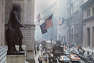 Statue of President George Washington on the steps of Federal Hall opposite of the New York Stock Exchange on Wall Street. during Black Monday, when stock markets around the world crashed.