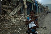 Port Au Prince, Haiti, Jan 25 2010.Boulevard Dessaline, once one of downtown Port au Prince most active commercial avenue.