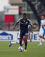 New England Revolution midfielder Joseph Niouky (23) at midfield. The New England Revolution defeated Puebla FC in penalty kicks, in SuperLiga 2010 semifinal at Gillette Stadium on August 4, 2010.