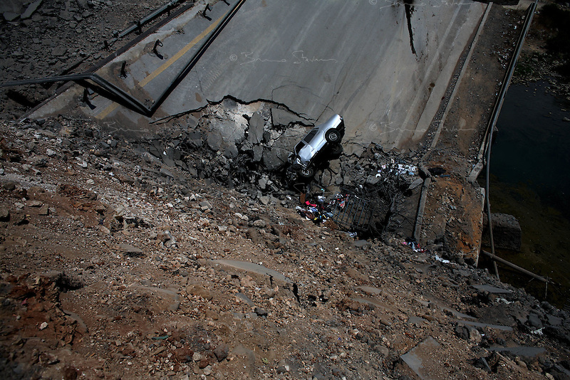 near Naameh, Lebanon, Aug 1 2006.One of many bridges destroyed by the Israeli air force on the coastal highway, creating major problems for the population to leave the South as well as for humanitarian aid to reach the people who can't or won't leave their homes.