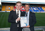 St Johnstone Player of the Year Awards 2014-15.....16.05.15<br /> Aidan Smith presents the Social Media Player of the Year Award to Chris Millar<br /> Picture by Graeme Hart.<br /> Copyright Perthshire Picture Agency<br /> Tel: 01738 623350  Mobile: 07990 594431