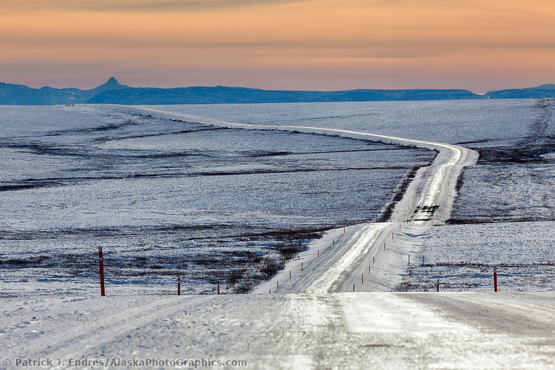 Icy James Dalton Highway, the Haul road, in winter conditions.