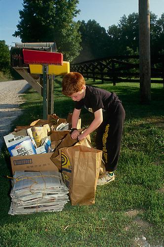 Boy does chores