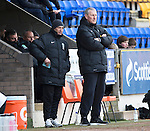 St Johnstone v Hibs...22.03.14    SPFL<br /> Terry Butcher and Maurice Malpas look on<br /> Picture by Graeme Hart.<br /> Copyright Perthshire Picture Agency<br /> Tel: 01738 623350  Mobile: 07990 594431