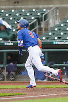Iowa Cubs outfielder Albert Almora (6) watches a fly ball during a Pacific Coast League game against the Colorado Springs Sky Sox on May 1st, 2016 at Principal Park in Des Moines, Iowa.  Colorado Springs defeated Iowa 4-3. (Brad Krause/Four Seam Images)