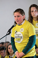 NO FEE PICTURES.8/3/12 Ailbhe Delargy, MounT Anville Jnr School, Dublin, taking part in the Dublin County final, part of the overall Eason 2012 Spelling Bee, held at St Olaf's NS, Dundrum. .For further details visit www.easons.com/spellingbee and stay tuned to RTE 2fm. Picture:Arthur Carron/Collins
