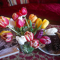 An arrangement of tulips in various colours and pine cones on a plate on an ottoman.