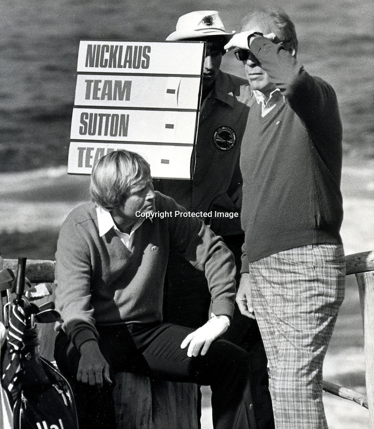 Former President Gerald Ford and Jack Nicklaus wait to tee off the 15th hole at Cypress Point during the 1984 Crosby Pro-Am Golf Tournament. (copyright 1984 Ron Riesterer)