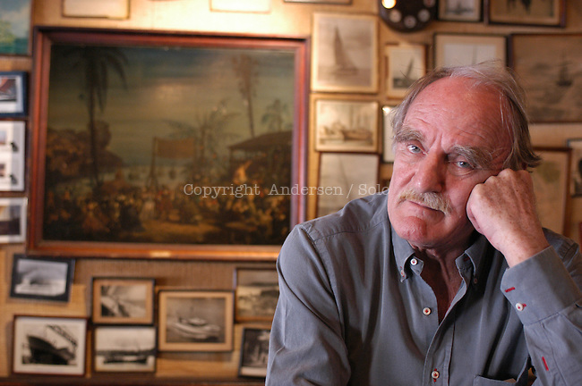 French author Jean Raspail at the Cafe l'Univers in Saint Malo during book Fair