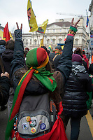 Milano, corteo per chiedere la liberazione del leader del Pkk, Abdullah Ocalan, in carcere dal 1999.Feb 11,2017<br /> Milan, march to demand the release of PKK leader Abdullah Ocalan, in prison since 1999.