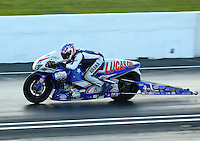 May 30, 2014; Englishtown, NJ, USA; NHRA pro stock motorcycle rider Hector Arana Jr during qualifying for the Summernationals at Raceway Park. Mandatory Credit: Mark J. Rebilas-