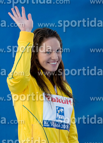 Third placed Emily Seebohm of Australia at victory ceremony after the Women's 100m Backstroke Final during the 13th FINA World Championships Roma 2009, on July 28, 2009, at the Stadio del Nuoto,  in Foro Italico, Rome, Italy. (Photo by Vid Ponikvar / Sportida)