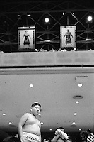 Young Rikishi Sumo watching the competitions. .450 children, aged between 11-14, qualified for  the All Japan Wanpaku Sumo Tournament. The  Ryogoku Kokugikan Stadium, Tokyo, Japan.