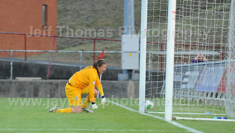 Elizabeth Durack of England is estatic on saving the French penalty during the UEFA Womens U19 Championships at Stebonheath Park, Llanelli  Monday 19th August 2013. All images are the copyright of Jeff Thomas Photography-www.jaypics.photoshelter.com-07837 386244-Any use of images must be authorised by the copyright owner.