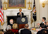 United States President Barack Obama delivers remarks to the National Governors Association during a meeting in the White House State Dining Room on Monday, February 27, 2012, in Washington, DC..Credit: Leslie E. Kossoff / Pool via CNP