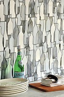 Bottles, a glass waterjet mosaic shown in Moonstone, Opal and Tourmaline, is part of the Erin Adams Collection for New Ravenna Mosaics.