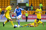 St Johnstone v Erskisehspor....126.07.12  Uefa Cup Qulaifyer.Chris Millar gets between Diego Angelo and Hurriyet Gucer.Picture by Graeme Hart..Copyright Perthshire Picture Agency.Tel: 01738 623350  Mobile: 07990 594431
