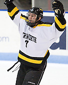 Andrew Yarber (WIT - 7) celebrates Domsodi's second goal. - The Wentworth Institute of Technology Leopards tied the visiting Johnson &amp; Wales University Wildcats 2-2 on Sunday, November 20, 2011, at Matthews Arena in Boston, Massachusetts.