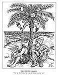 """The Festive Season. """"Cheer up, Man Freitag; this is an old German custom of ours."""" (Hitler as Robinson Crusoe and Mussolini as Man Friday on a stranded desert island under a palm tree with John Bull and Stalin Christmas baubles)"""