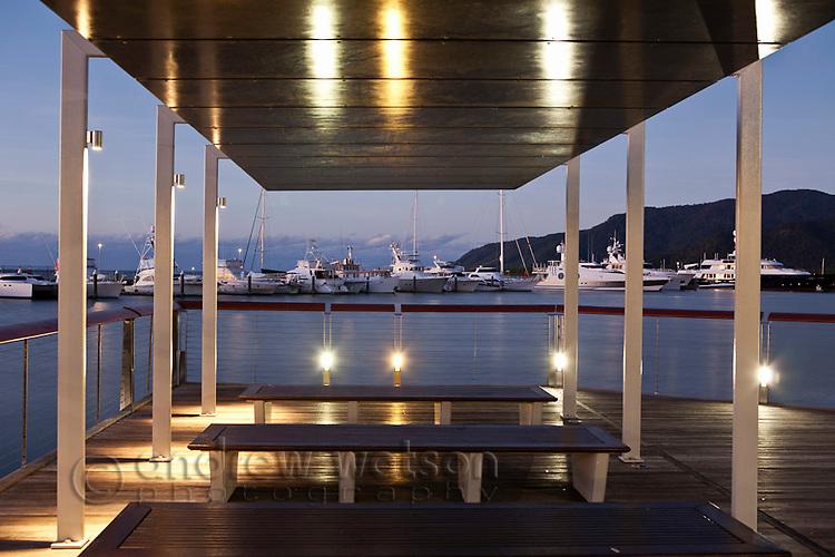 Viewing deck at Marina Point illuminated at twilight.  Cairns, Queensland, Australia