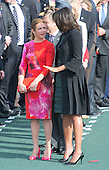 First Lady Michelle Obama, right, Mrs. Sophie Gr&eacute;goire Trudeau, right, at an Arrival Ceremony opening the Official Visit of Prime Minister Justin Trudeau of Canada, on the South Lawn of the White House in Washington, DC on Thursday, March 10, 2016. <br /> Credit: Ron Sachs / CNP