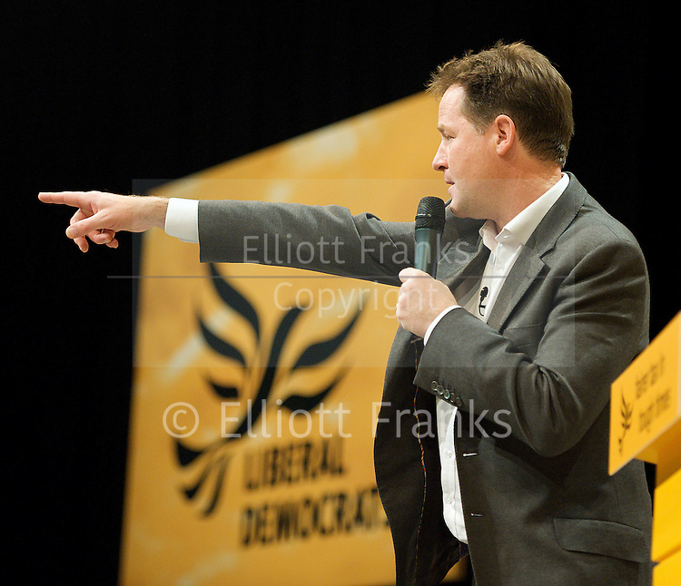 The Liberal Democrats Annual Autumn Conference 2012 at The Brighton Centre, Brighton, East Sussex, Great Britain <br /> 22nd to 26th September 2012 <br /> <br /> The Rt Hon Nick Clegg MP &ndash; Leader of the Liberal Democrats, Deputy Prime Minister, Lord President of the Council and MP for Sheffield Hallam<br /> <br /> Miriam Gonz&aacute;lez Dur&aacute;ntez, is a partner of international legal practice Dechert and the wife of Liberal Democrat Party Leader and Deputy Prime Minister of the United Kingdom, Rt Hon Nick Clegg MP<br /> <br /> Simon Hughes MP<br /> Deputy Leader of the Liberal Democrats<br /> <br /> Tim Farron MP<br /> for Westmorland and Lonsdale &amp; President of the Liberal Democrats<br /> <br /> Willie Rennie <br /> Leader of the Scottish Liberal Democrats <br /> <br /> Danny Alexander MP &ndash; Chief Secretary to the Treasury<br /> <br /> Edward Davey MP &ndash; Secretary of State for Energy and Climate Change<br /> <br /> Don Foster MP &ndash; Department for Communities and Local Government, Parliamentary Under Secretary of State<br /> <br /> Norman Lamb MP &ndash; Department of Heath, Minister of State<br /> <br /> The Rt Hon David Laws MP &ndash; Department for Education, Minister of State (jointly with the Cabinet Office)<br /> <br /> Michael Moore MP &ndash; Secretary of State for Scotland<br /> <br /> Jo Swinson MP &ndash; Parliamentary Under Secretary for the Department for Business, Innovation and Skills<br /> <br /> Photograph by Elliott Franks