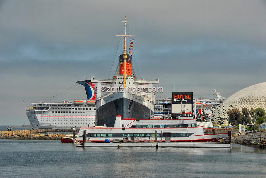 HMS Queen Mary, Carnival Paradise, Catalina Cruise Ships, Hotel, Long Beach, CA, California, USA High dynamic range imaging (HDRI or HDR)