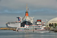 HMS Queen Mary, Carnival Paradise, Catalina Cruise Ships, Hotel, Long Beach, CA, California, USA High dynamic range imaging (HDRI or HDR)