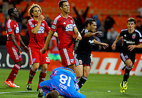 WASHINGTON, D.C - April 26 2014: Fabian Espindola  of D.C. United sfter scoring his second goal during the D.C. United vs F.C. Dallas MLS match at RFK Stadium, in Washington D.C. United won 4-1.