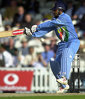 09/07/2002 - Tue.Sport - Cricket-  NatWest Series - Eng vs India Oval.India batting - Virender Sehweg  Alex Tudor, Darren Gough and Ronnie Irani bowling.