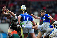 Richard Wigglesworth of Saracens box-kicks the ball. Aviva Premiership match, between Leicester Tigers and Saracens on March 20, 2016 at Welford Road in Leicester, England. Photo by: Patrick Khachfe / JMP