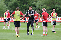 The Welsh player are given instructions from manager Chris Coleman during the Wales Open Training Session on Wednesday 1st June 2016 at the Vale Resort, in the Vale of Glamorgan. <br /> <br /> <br /> Jeff Thomas Photography -  www.jaypics.photoshelter.com - <br /> e-mail swansea1001@hotmail.co.uk -<br /> Mob: 07837 386244 -